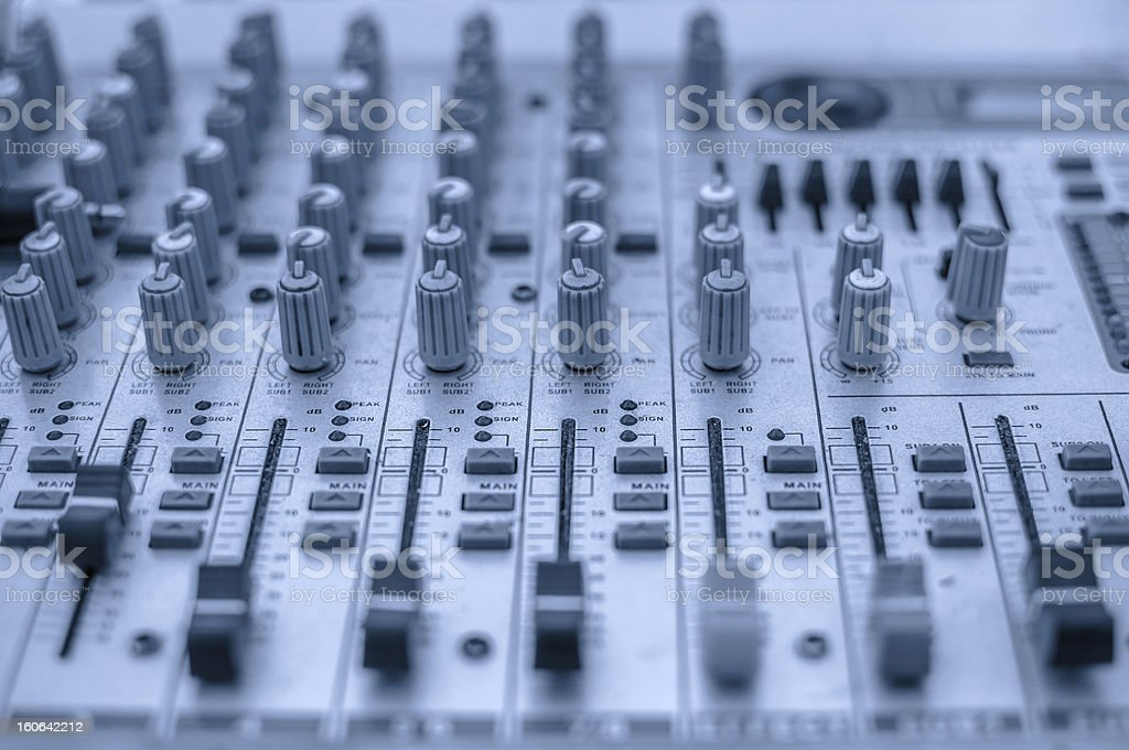 Audio mixing console. royalty-free stock photo