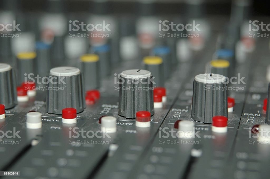 audio mixing controls stock photo