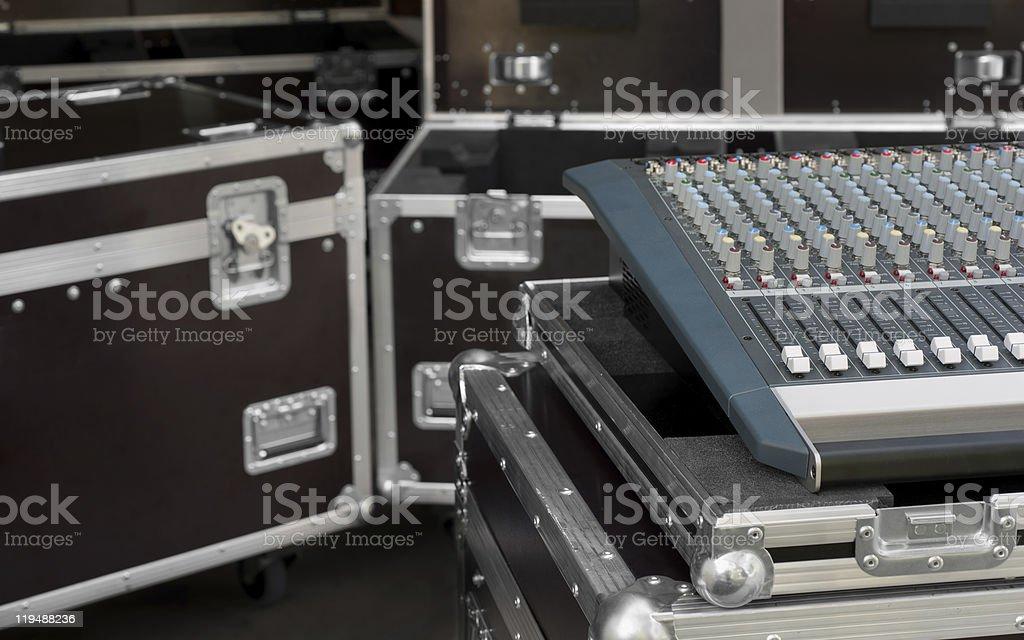 Audio Mixing in flight case stock photo