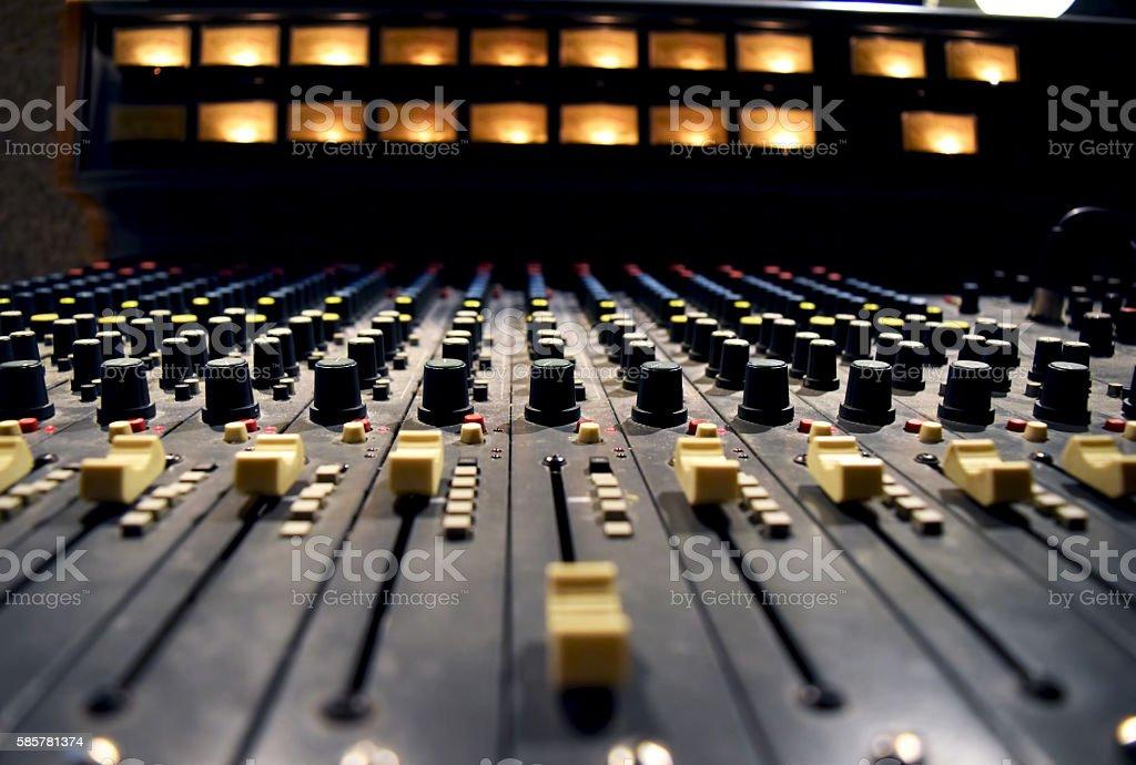 Audio record studio, professional console in recording studio, mixer panel stock photo