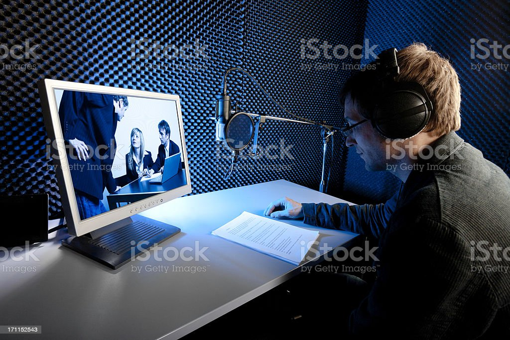 audio recording studio, film/tv-production. voice over stock photo