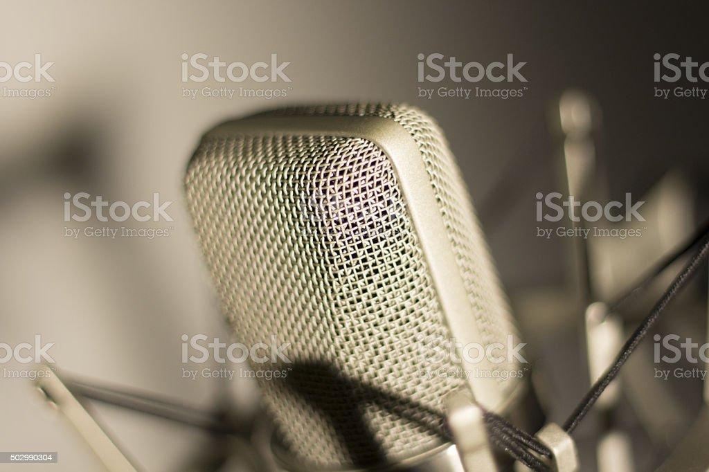 Audio recording vocal studio voice microphone stock photo