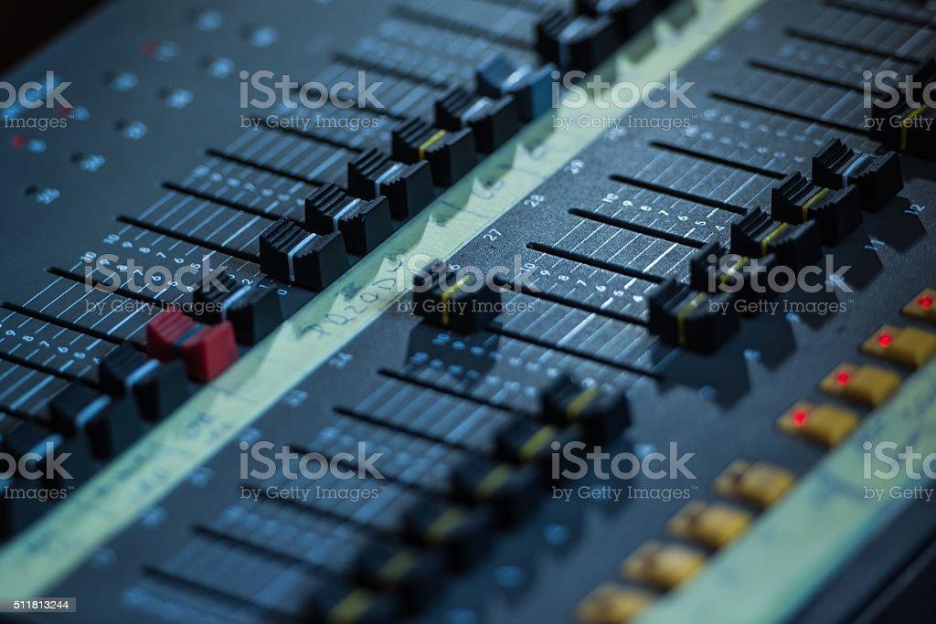 Audio Sound Mixer Closeup stock photo