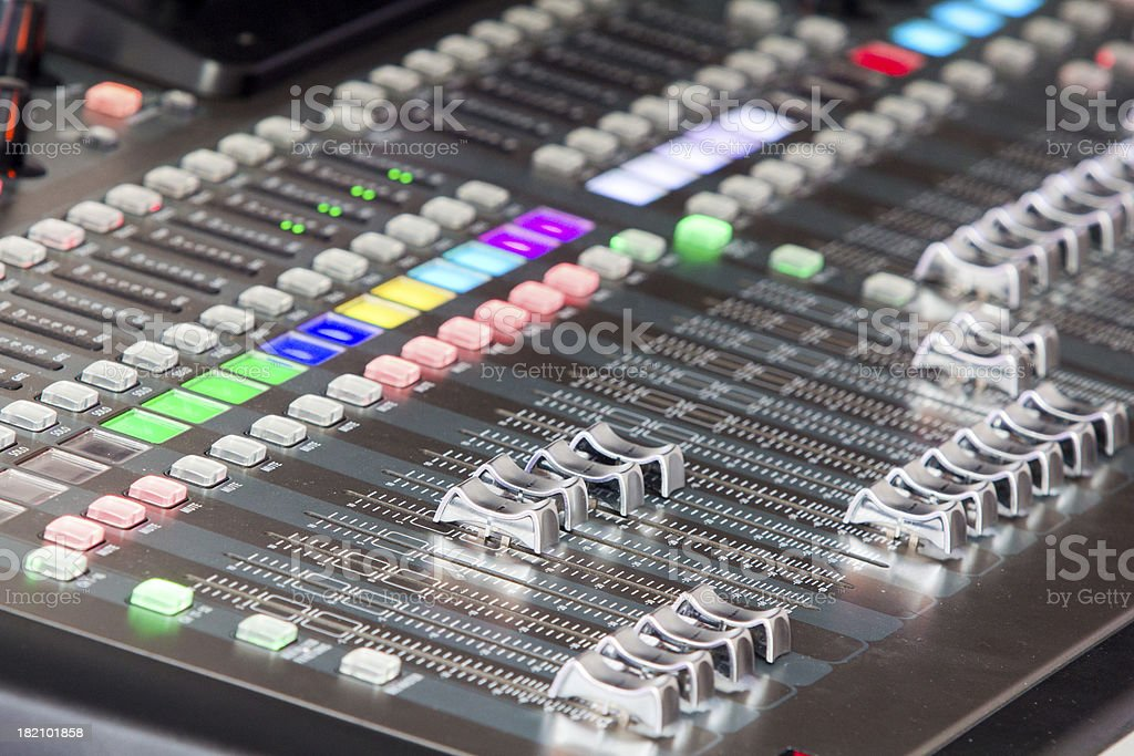 Audio sound mixer panel in concert royalty-free stock photo