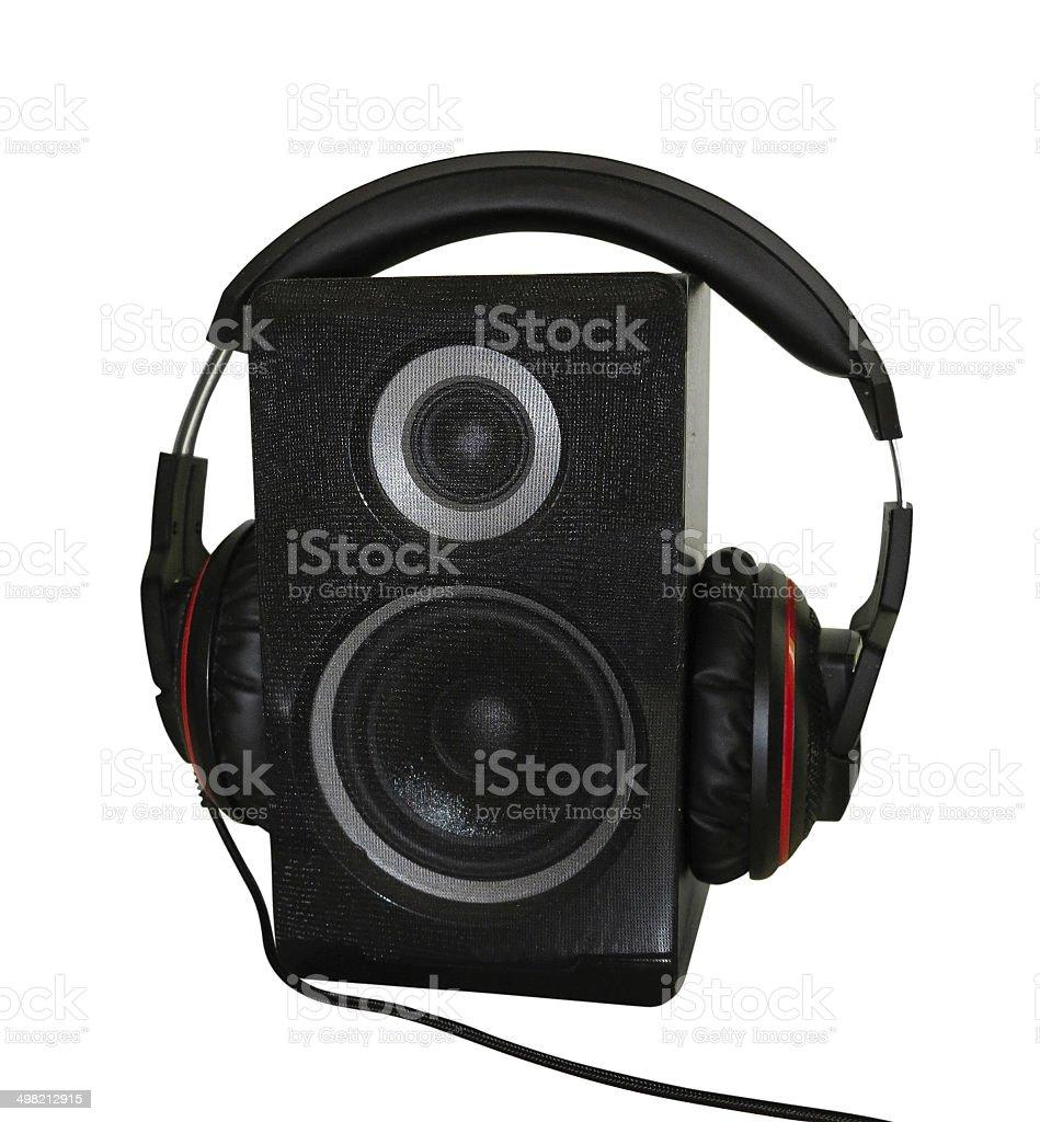 Altifalante de Áudio e auscultadores isolado sobre branco foto de stock royalty-free