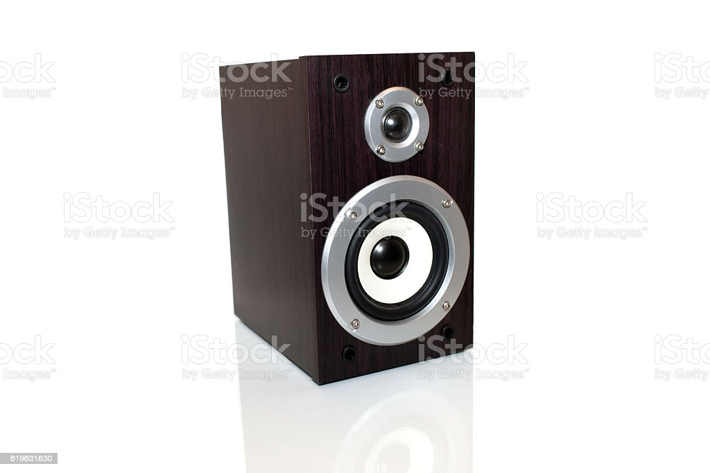 Audio speaker in a wooden case. Isolated on white background stock photo