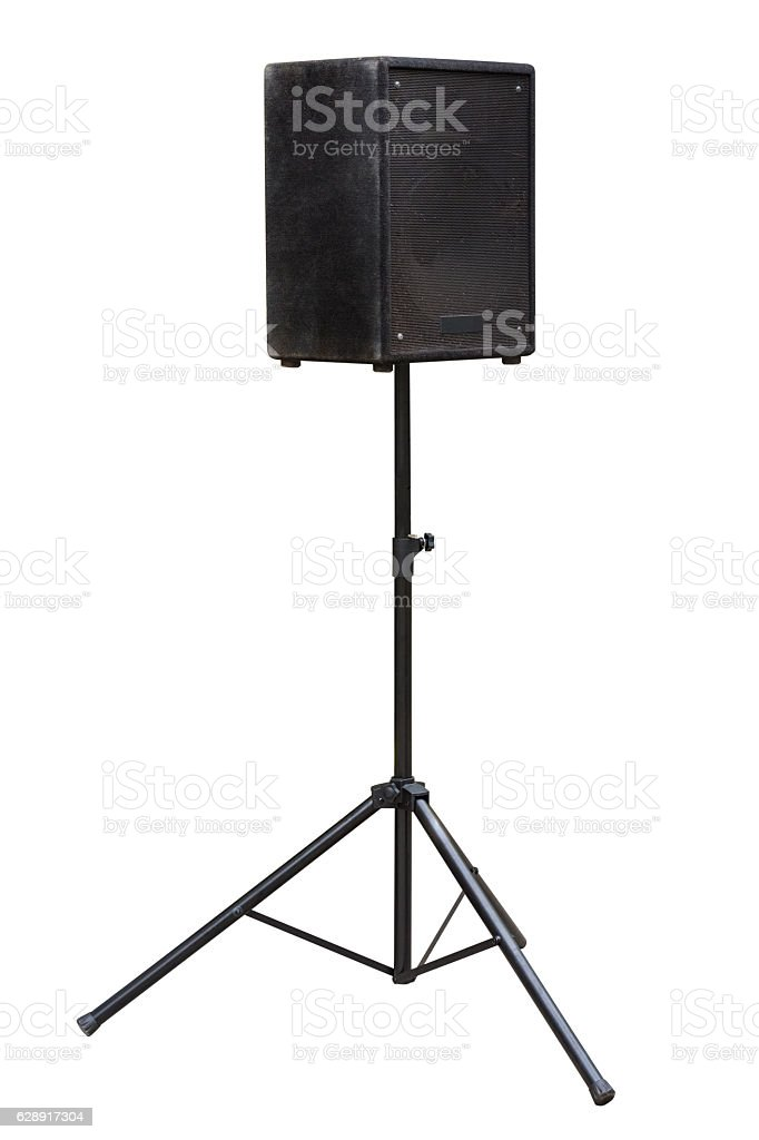 audio speakers on a stand isolated on a white background stock photo