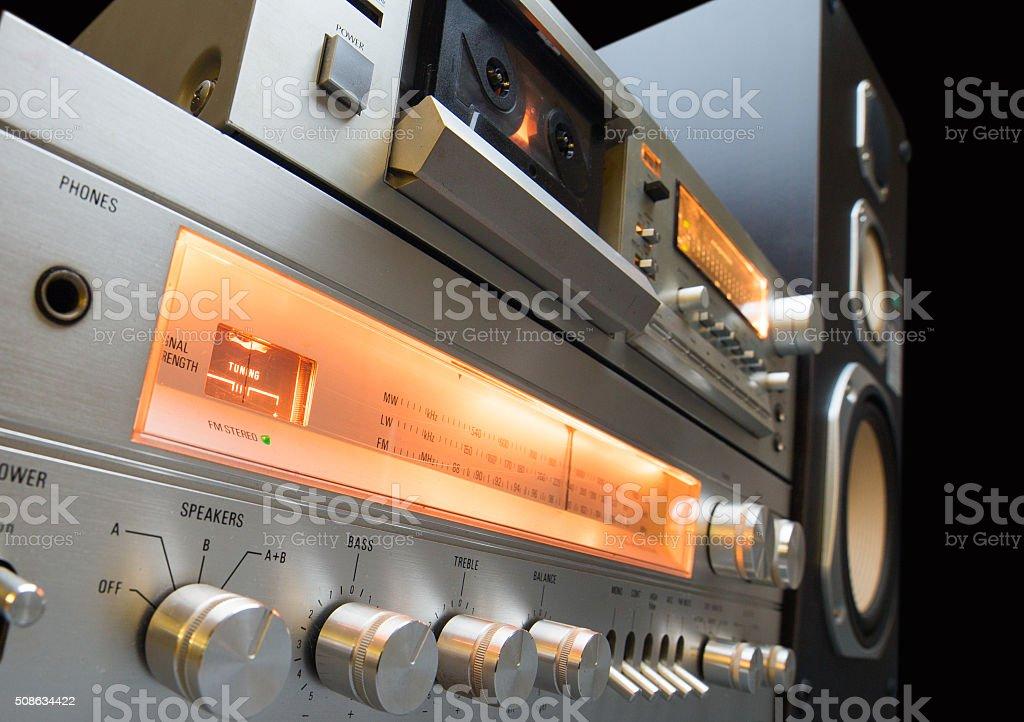 audio stereo rack stock photo