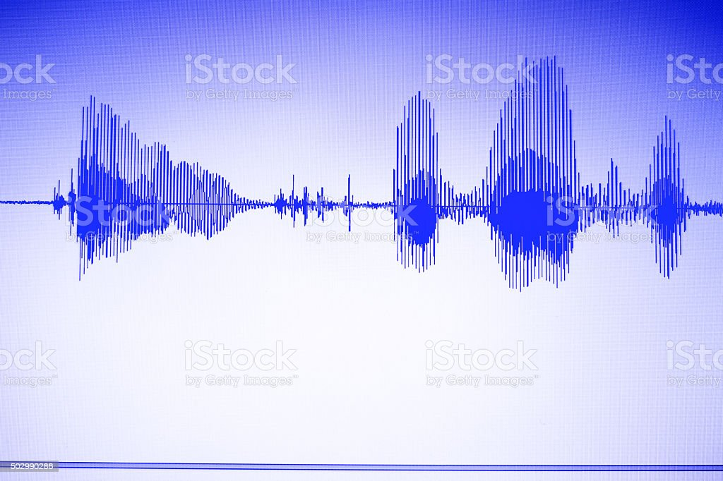 Audio studio voice recording sound wave stock photo