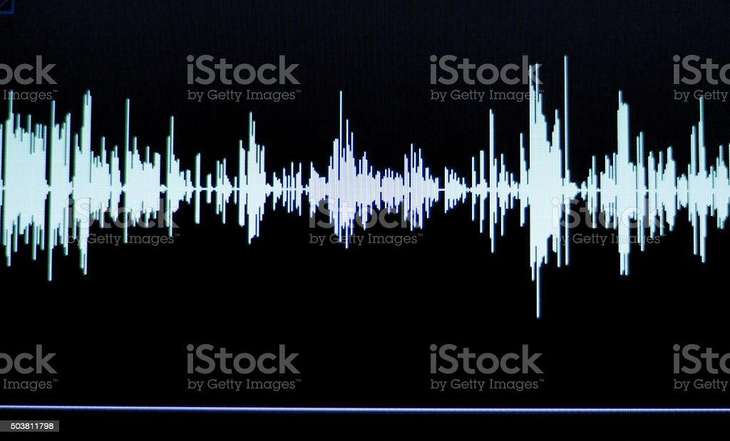 Audio studio voice recording sound wave stock photo