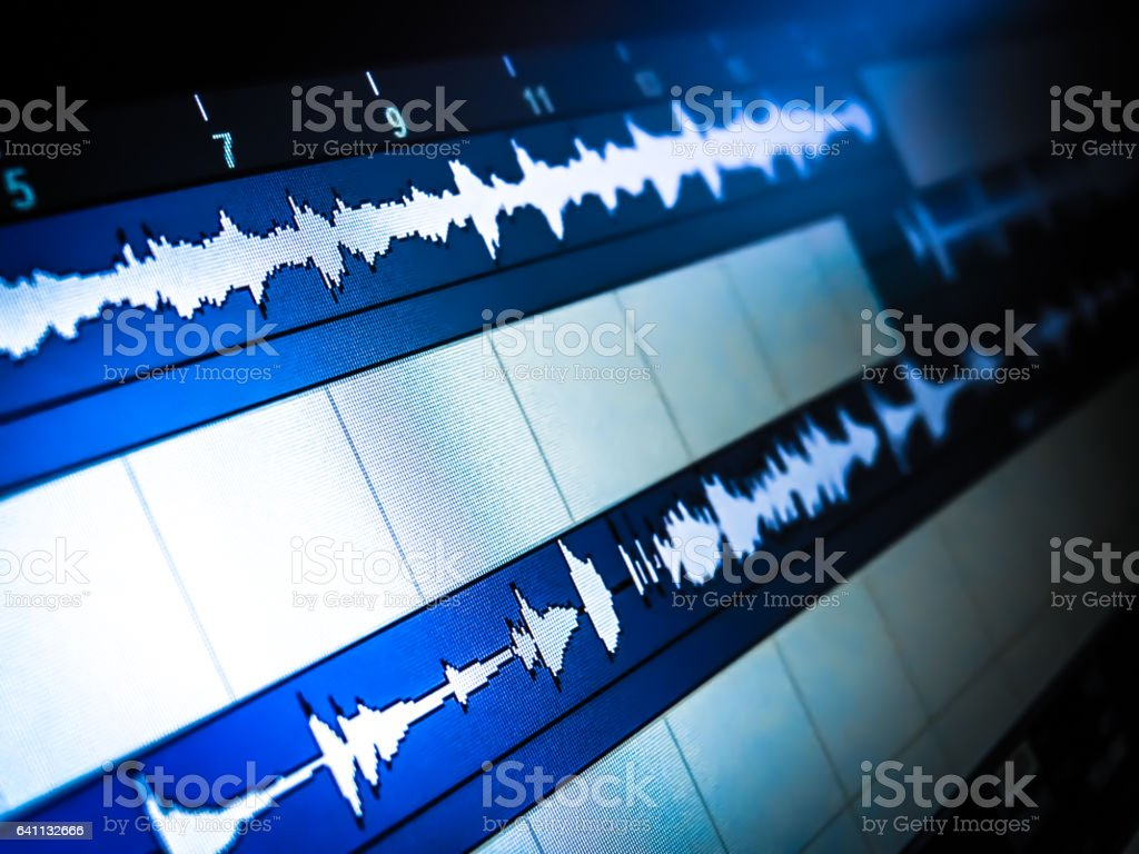 Audio tracks on the computer screen in a music editor stock photo
