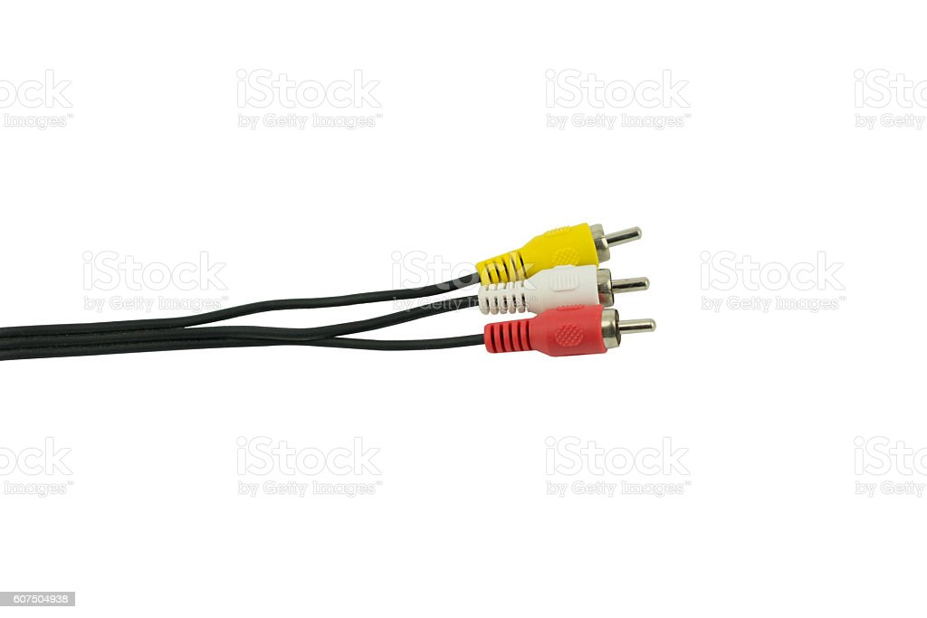Audio video cable RCA to 3.5mm jack isolated on white stock photo