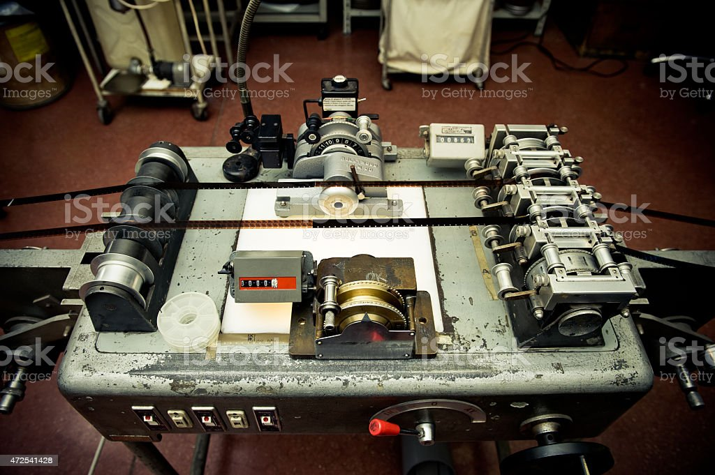 Audio video industrial film synchronizer for movie post producti stock photo