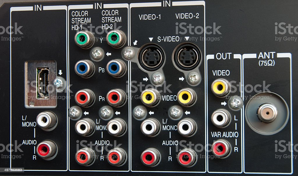 Audio Video Television Jacks royalty-free stock photo