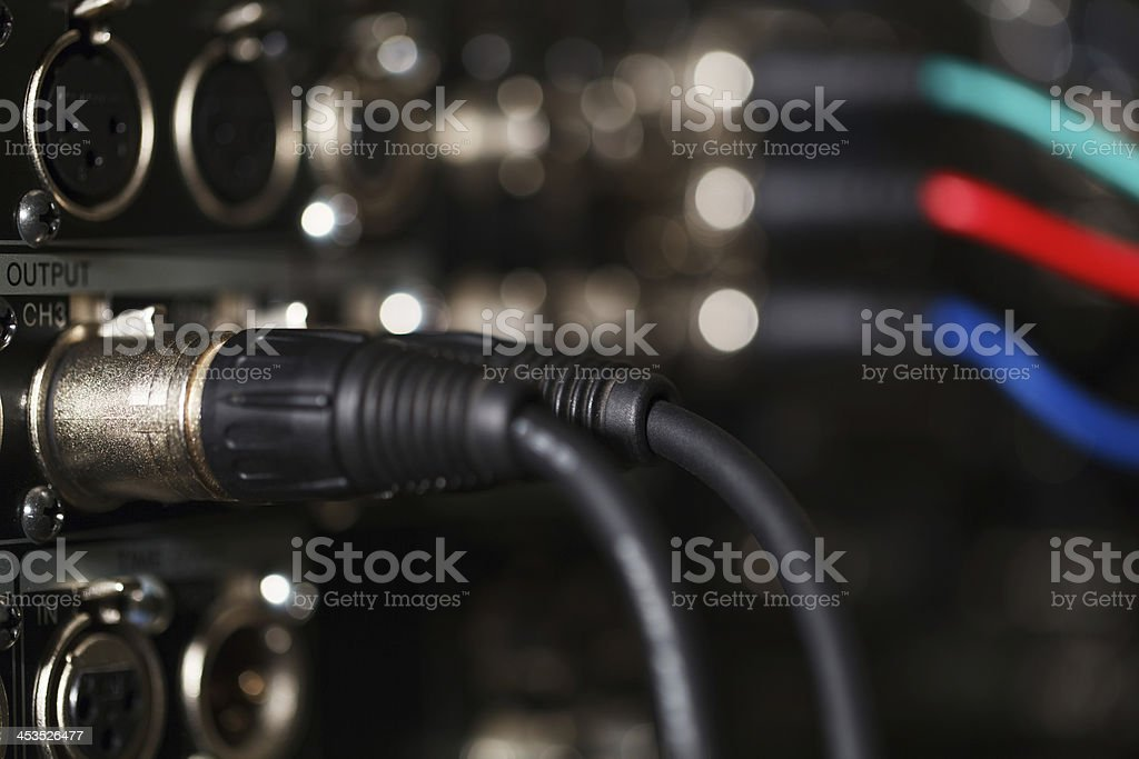 Audio XLR cables in the pro recorder. stock photo