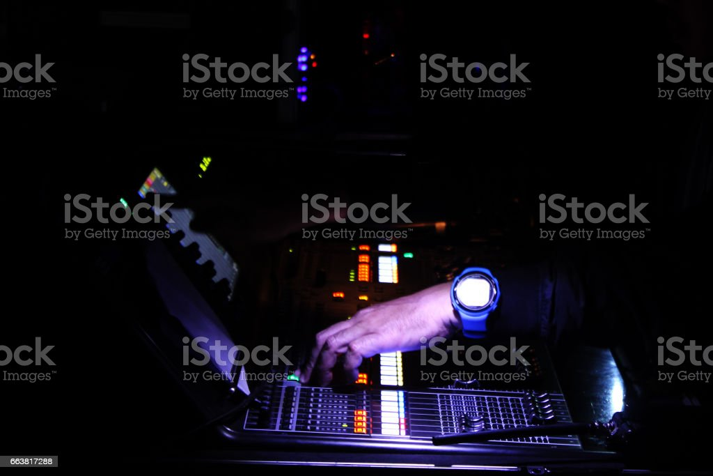 Audioman Operating Sound Mixer Device stock photo
