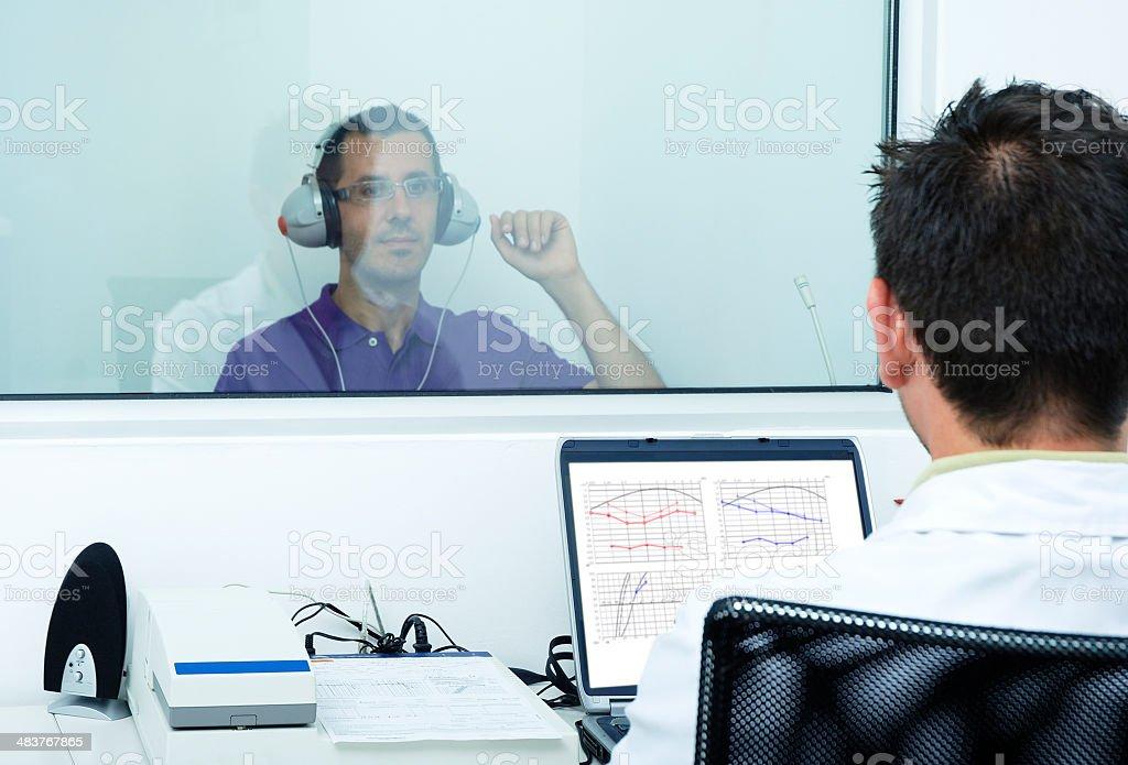 Audiometer hearing test stock photo