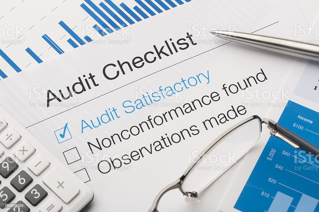 Audit checklist on a desk stock photo