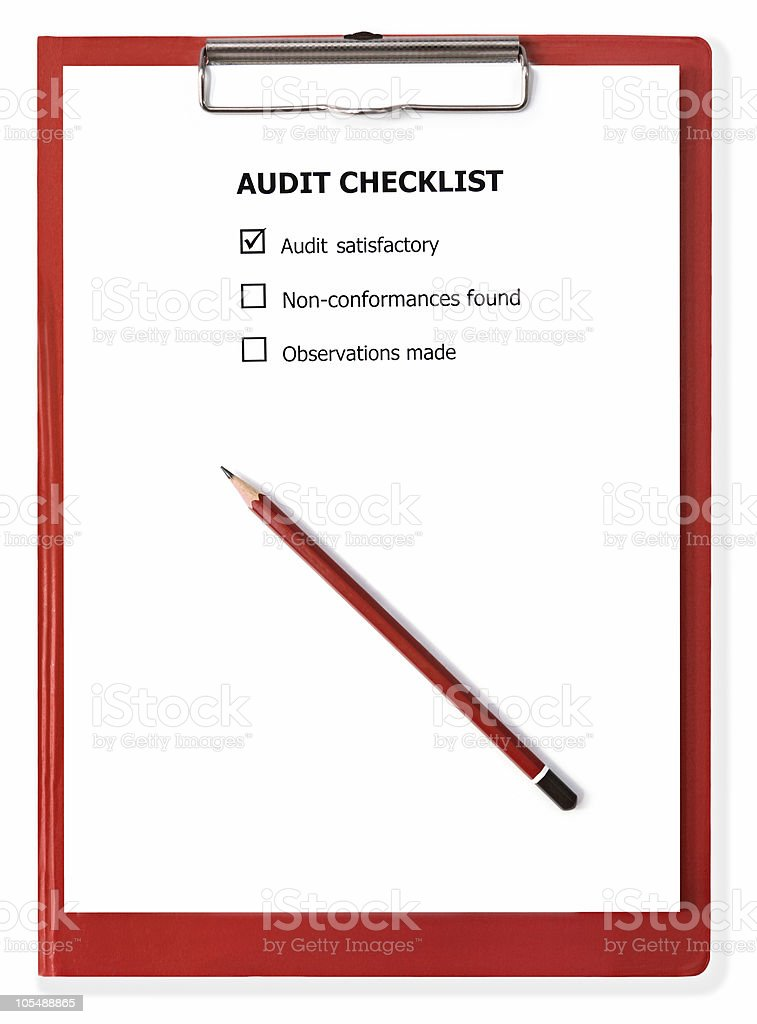 Audit Checklist on Clipboard royalty-free stock photo
