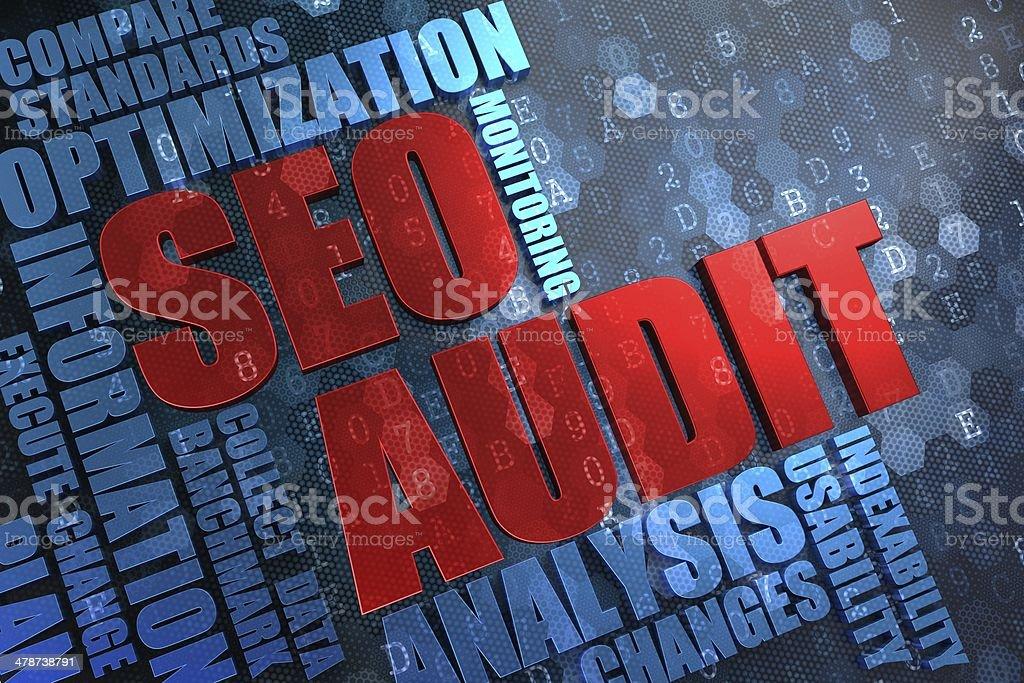 SEO Audit -  Wordcloud Concept. stock photo
