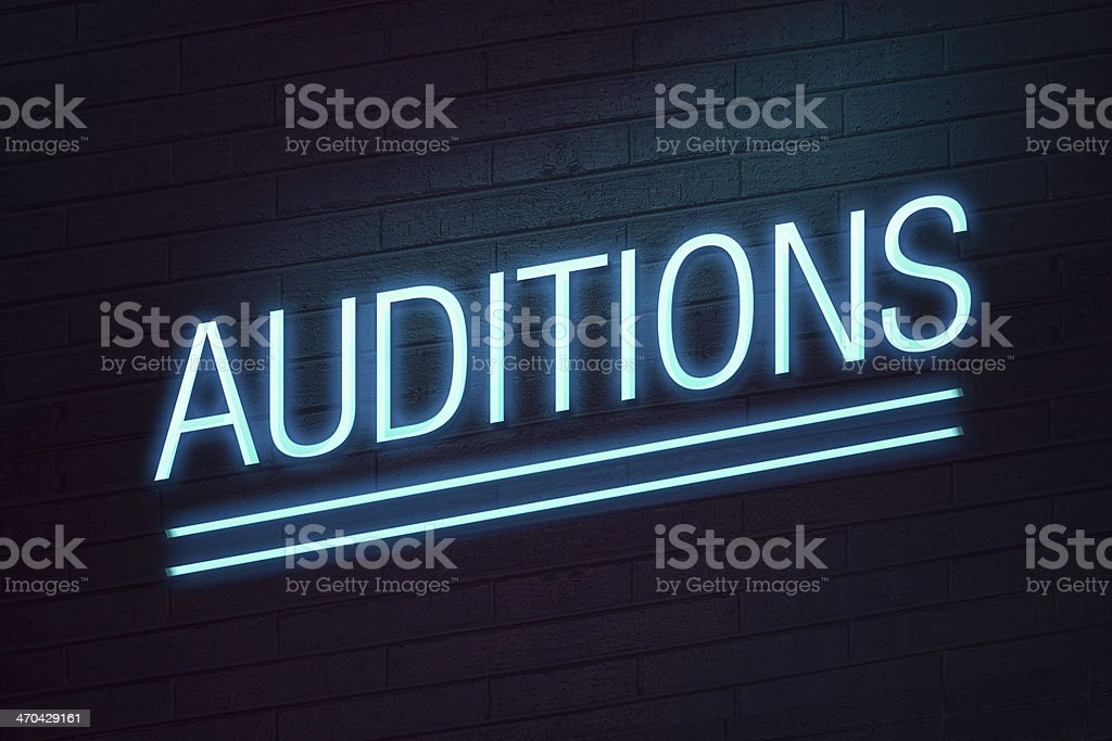 Audition neon sign on wall stock photo