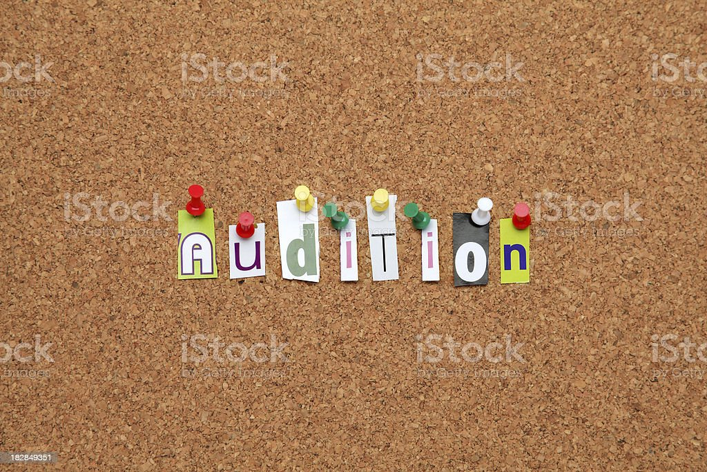 Audition pinned on noticeboard stock photo