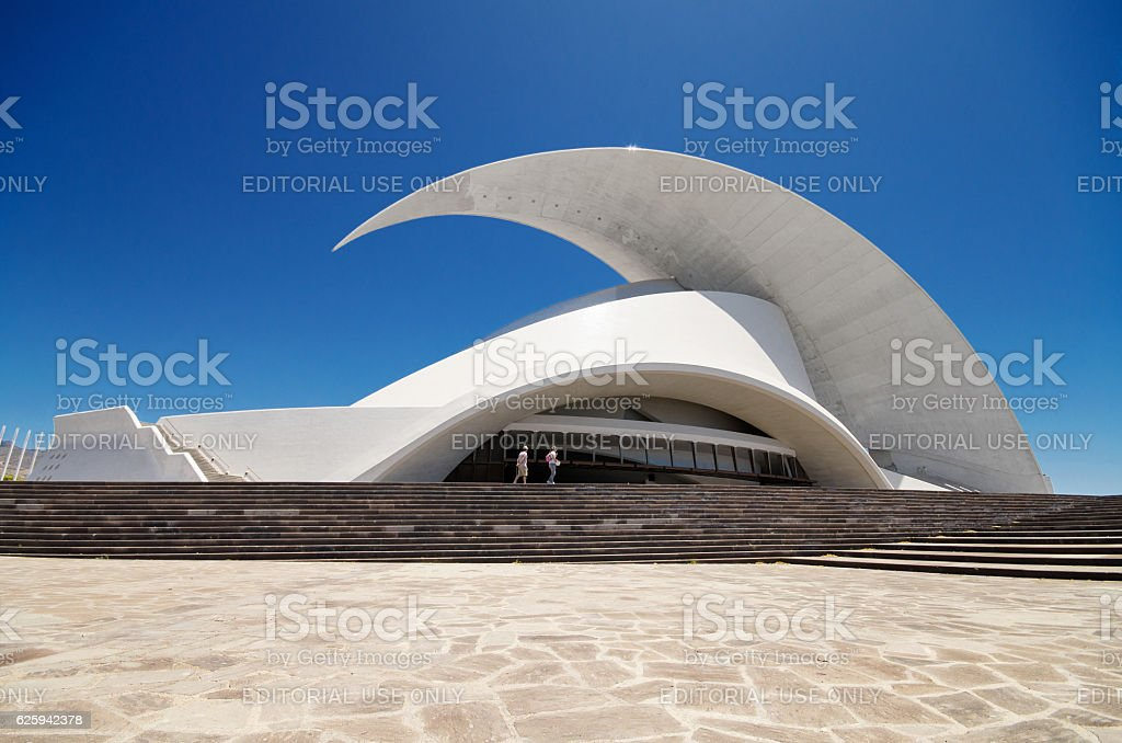 Auditorio de Tenerife futuristic and inspired in organic shapes, building stock photo