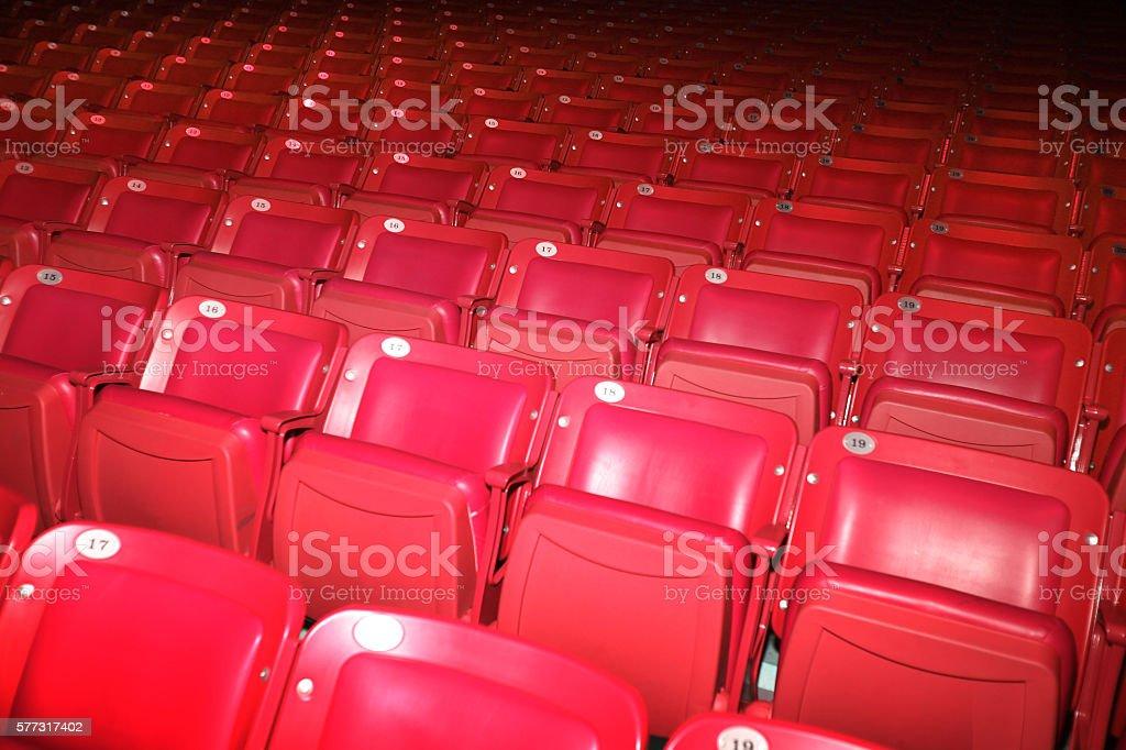 Auditorium Empty Red Seats stock photo
