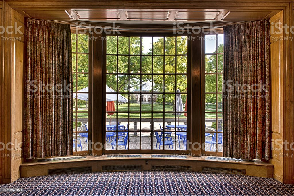 Auditorium framed by bay window stock photo