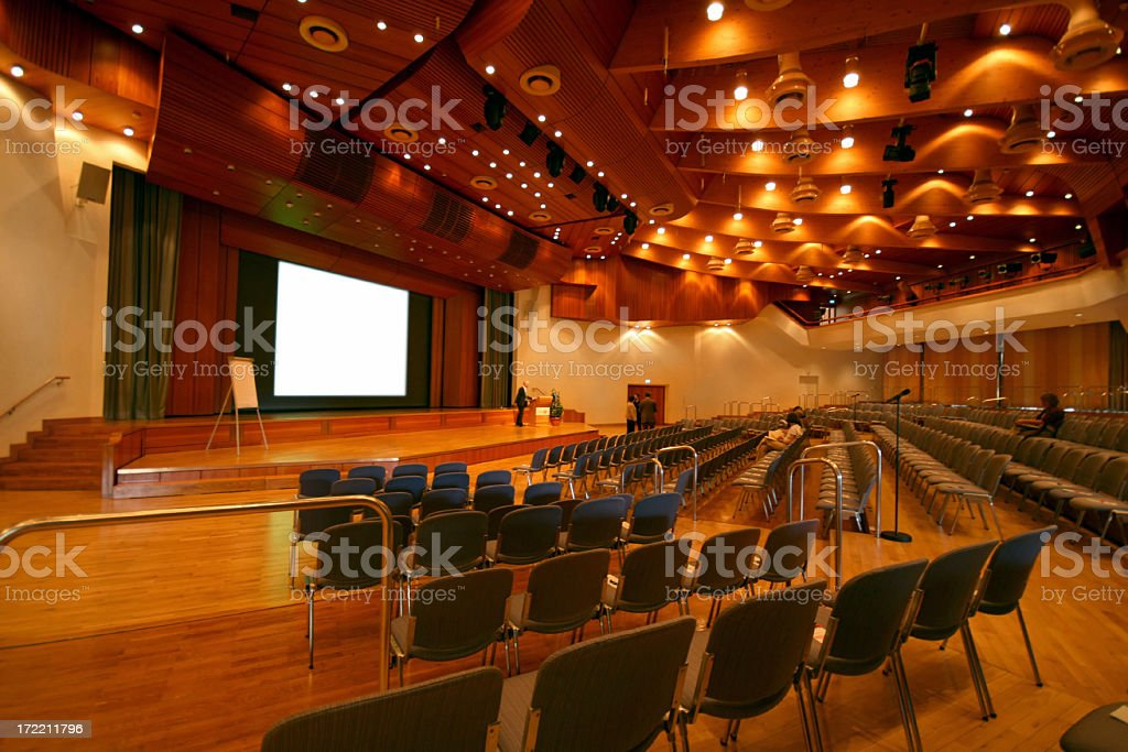 Auditorium with many chairs before the start of a conference royalty-free stock photo