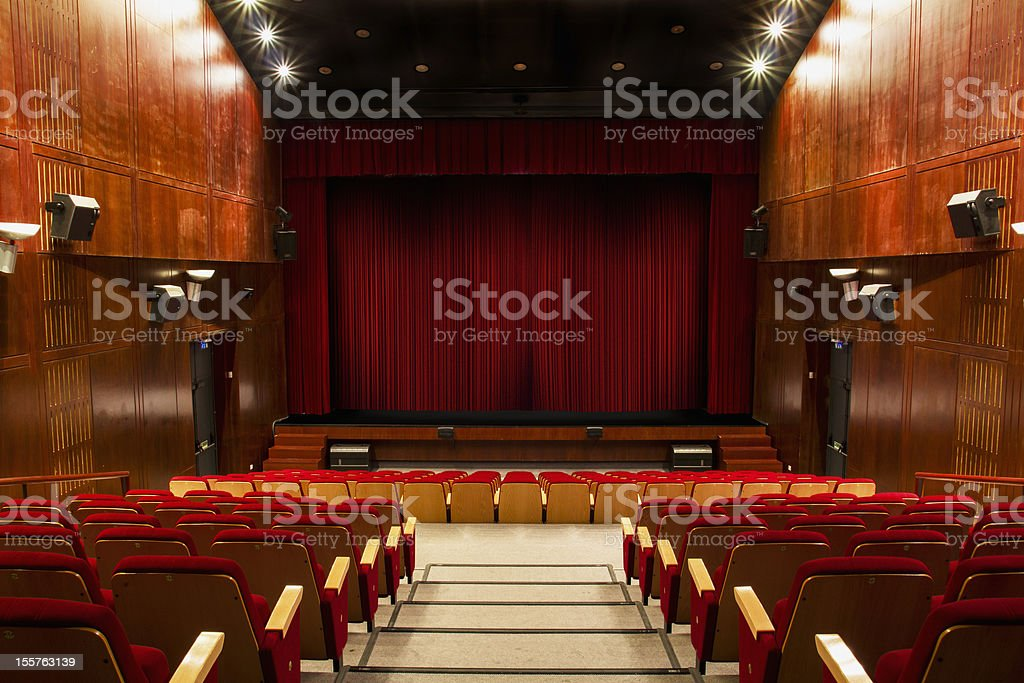 auditorium with red chairs royalty-free stock photo