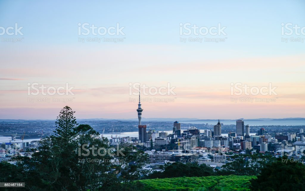 Audkland city from top Mount Eden. stock photo