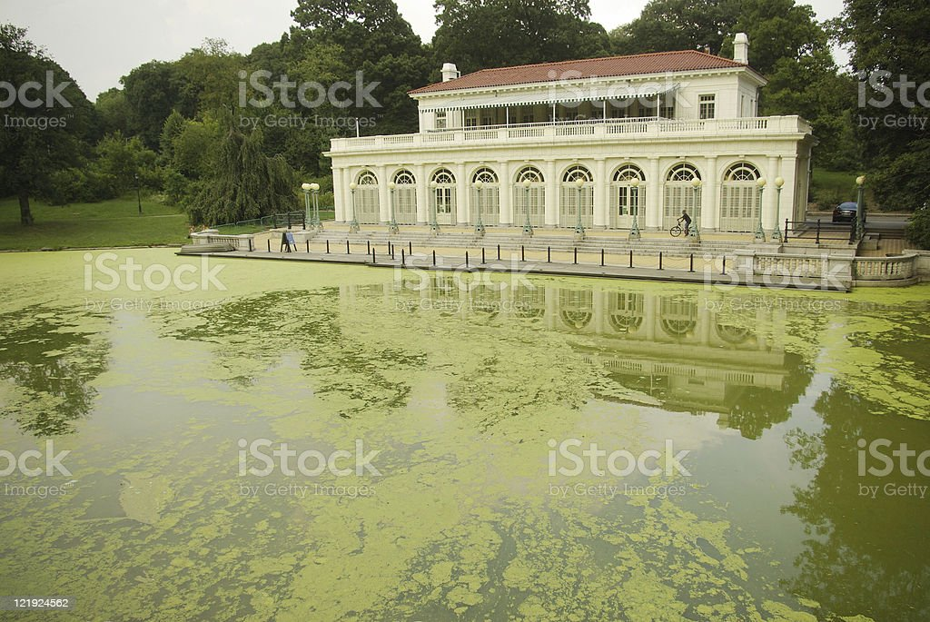 Audubon Center on algae laden lake royalty-free stock photo