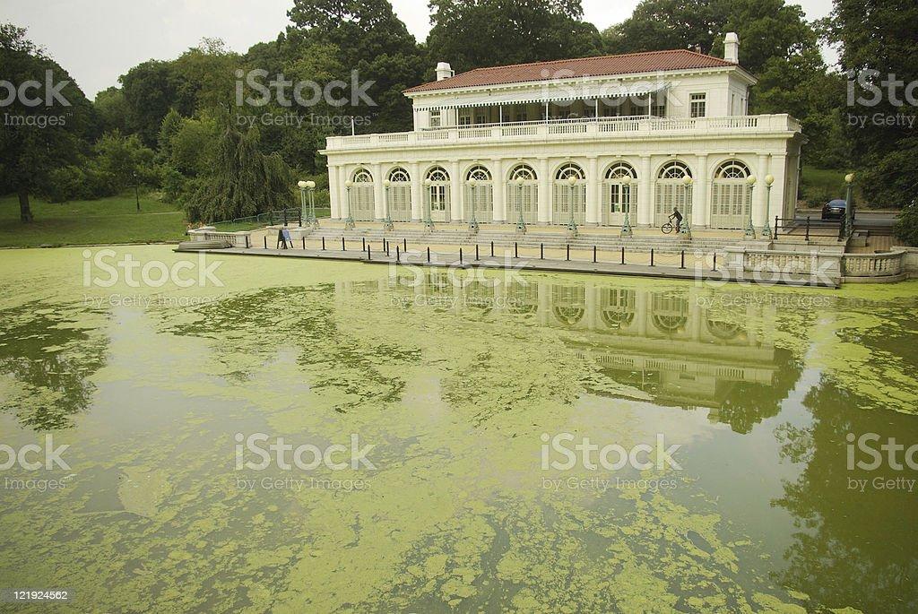 Audubon Center on algae laden lake stock photo