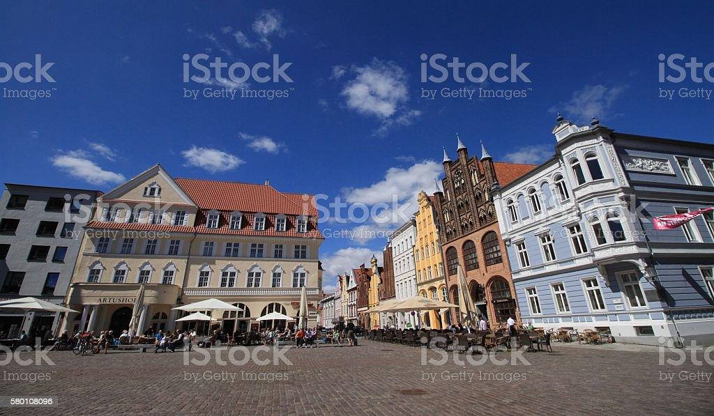 Auf dem Stralsunder Marktplatz stock photo