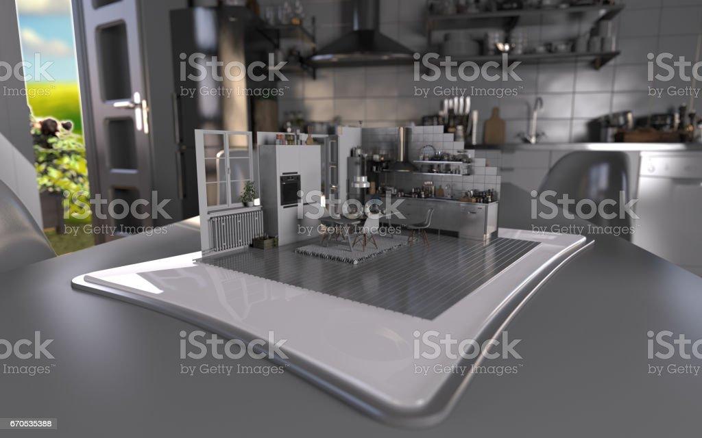 Augmented Reality Tablet Kitchen Interior Design stock photo