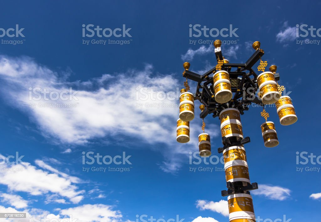 August 11, 2014 - Light post in Lhasa, Tibet stock photo