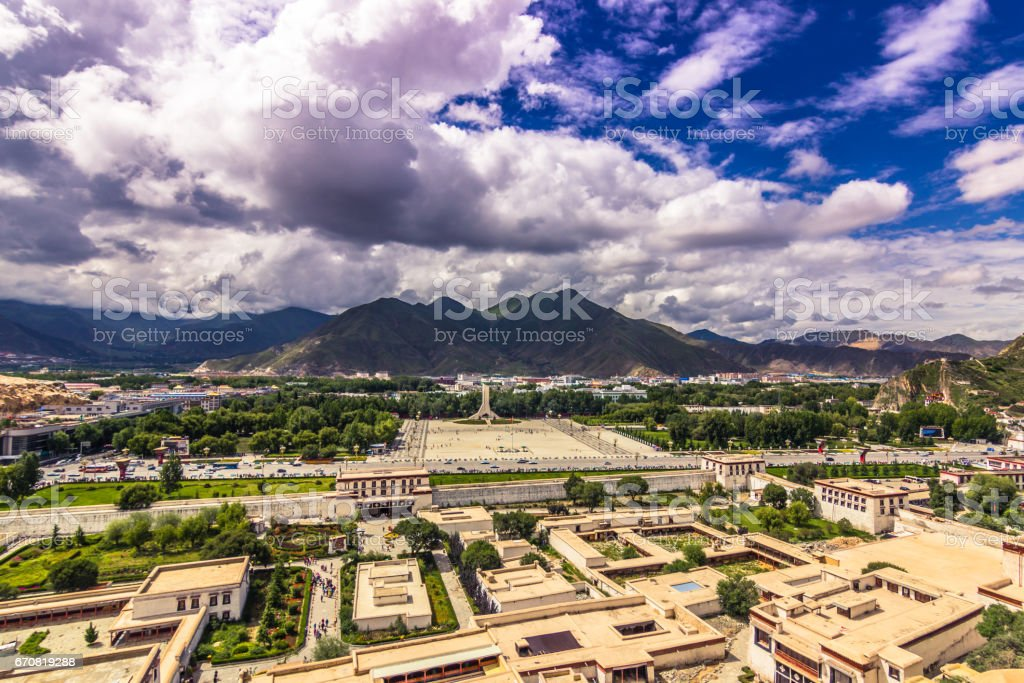 August 13, 2014 - Lhasa seen from the Potala Palace, Tibet stock photo