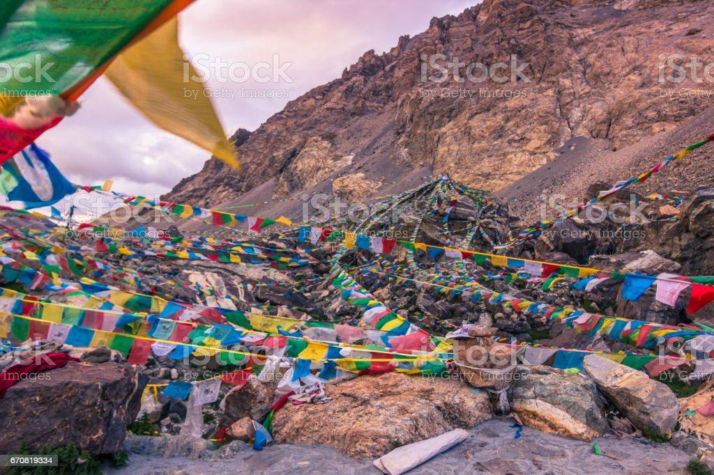August 15, 2014 - Rongbuk Monastery in Everest basecamp, Tibet stock photo