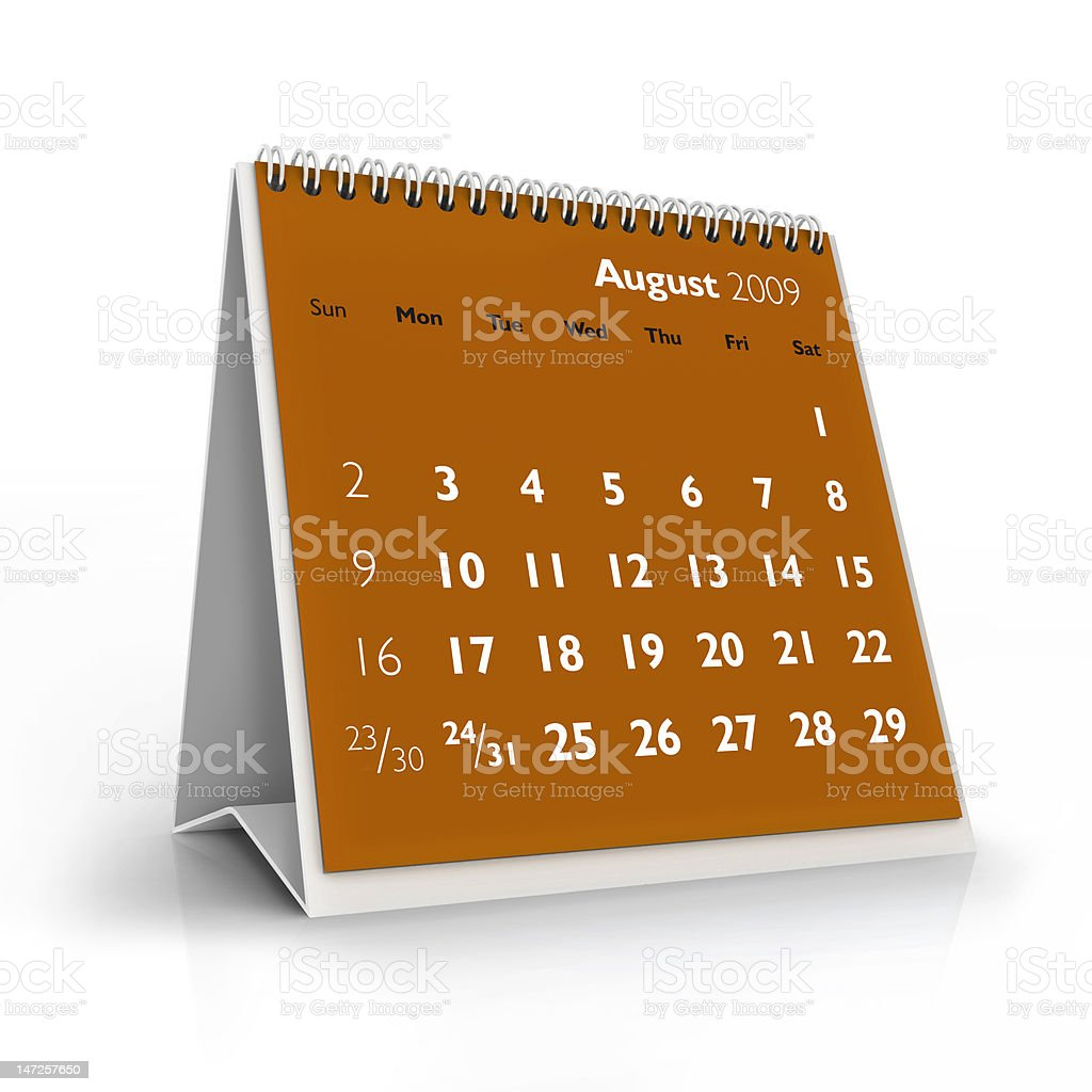 August 2009 calendar royalty-free stock photo
