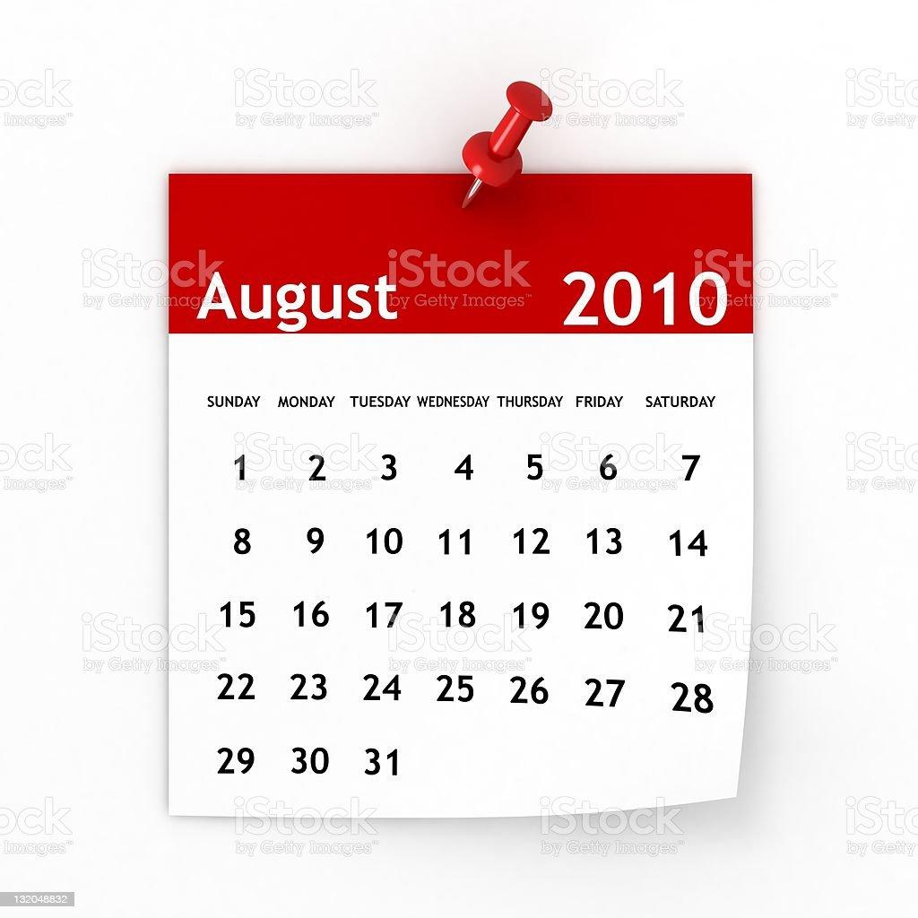 August 2010 - Calendar series royalty-free stock photo