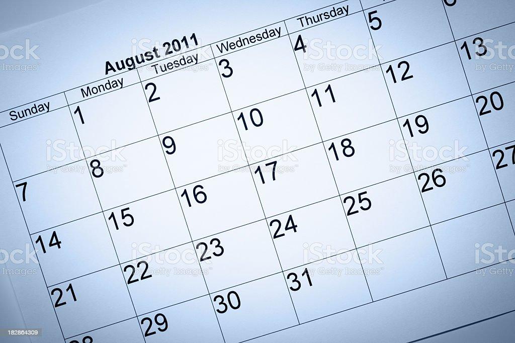 August 2011 calendar royalty-free stock photo