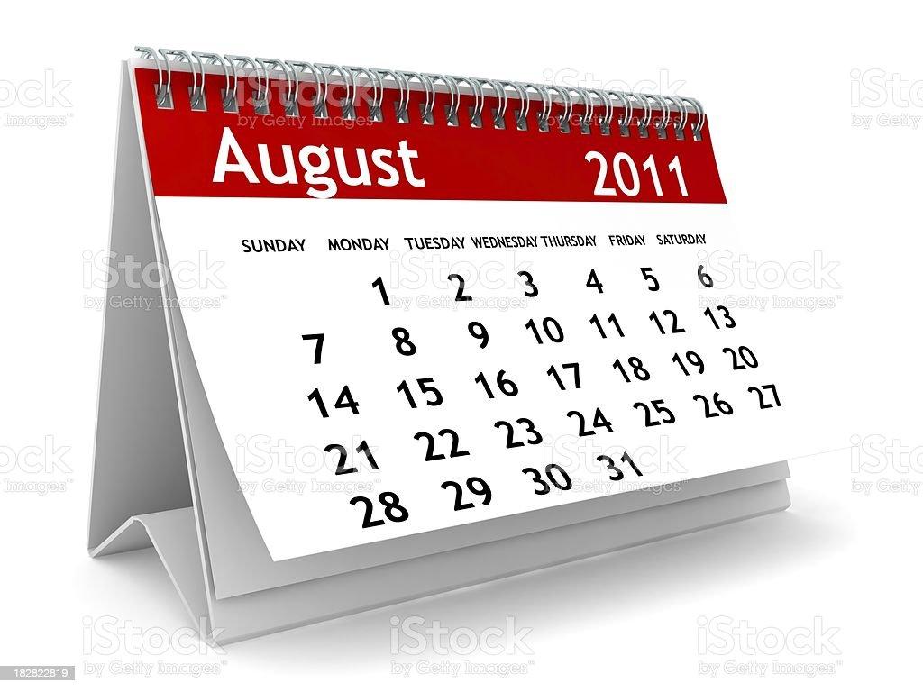 August 2011 - Calendar series royalty-free stock photo