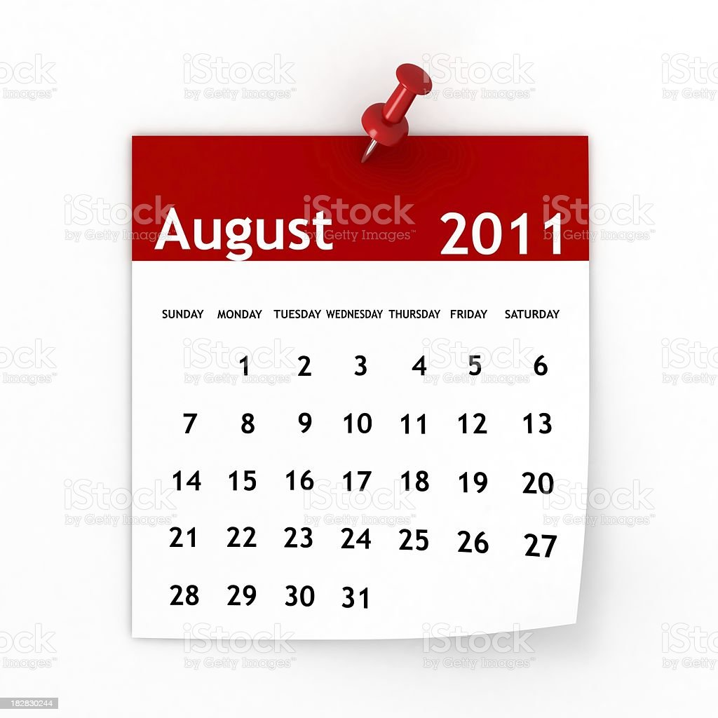 August 2011 - Calendar series royalty-free stock photo