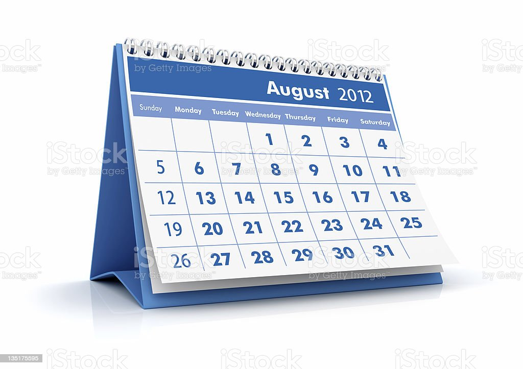 August 2012 calendar royalty-free stock photo