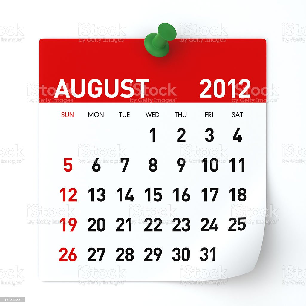 August 2012 - Calendar royalty-free stock photo