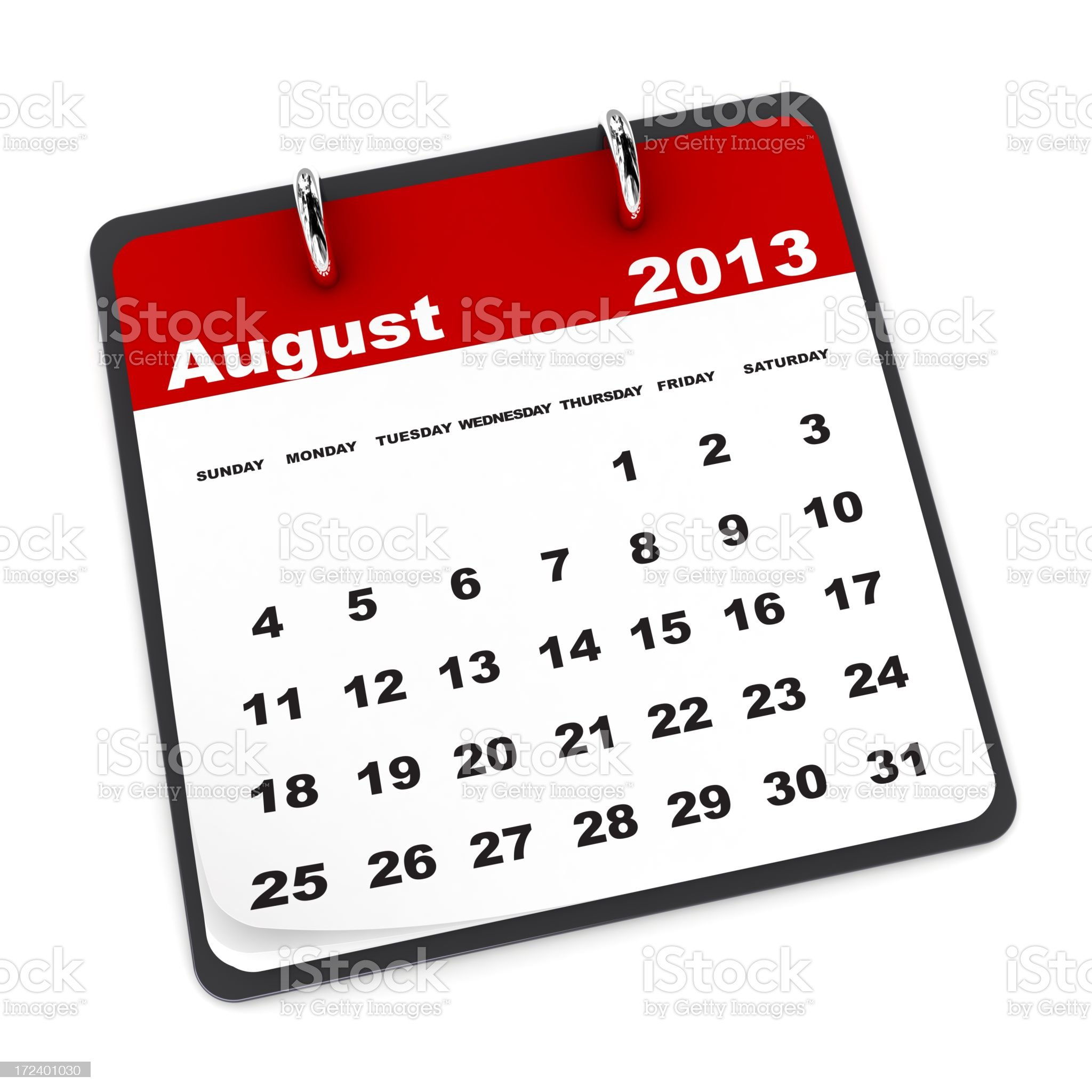 August 2013 - Calendar series royalty-free stock photo