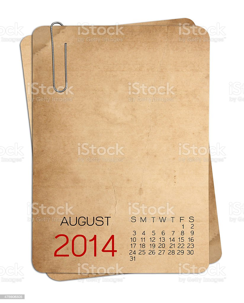 August 2014 Calendar on the Empty old photo royalty-free stock photo