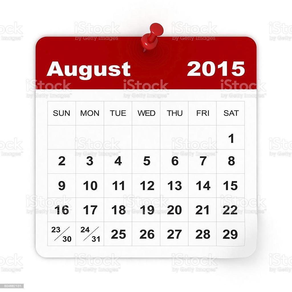 August 2015 - Calendar series stock photo