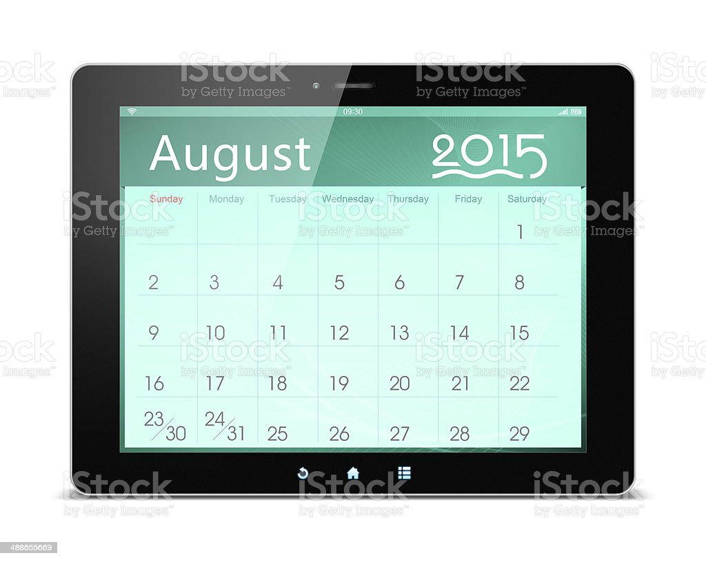 August 2015 Calender on digital tablet royalty-free stock photo